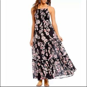 Free People Black Floral Maxi Dress Small